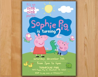 Peppa Pig Invitation - Peppa Pig Birthday Invitation - Peppa Pig Party Invite - Boy Girl Birthday Printable invite