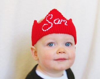 Baby Crown Hat Personalised - Holly Red