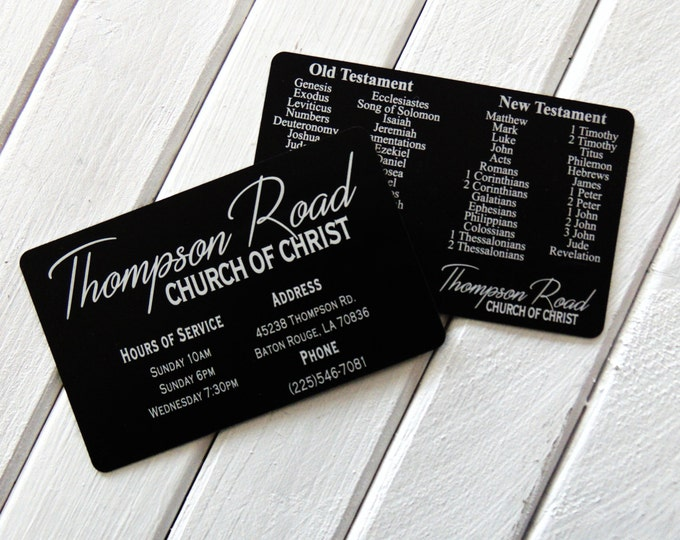 Congregation Wallet Card with engraved Church Logo  Books of Bible -Metal Bookmark - Him or Her - Laser Engraved - Engraved Wallet Insert -