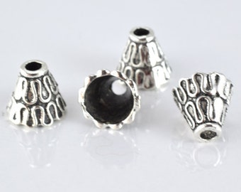 10X10mm Antique Silver Black Accent Decorative Cone Metal Beads, 20pcs/PK, 2mm hole 1mm thickness