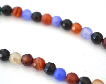 8mm Faceted Agate Multicolored Stone Beads,Gemstones