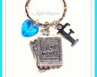 Movie Ticket Keychain, Personalized I love Movies Key Chain, Gift for movie lover's Keyring, Purse Charm, Silver  initial birthstone 97