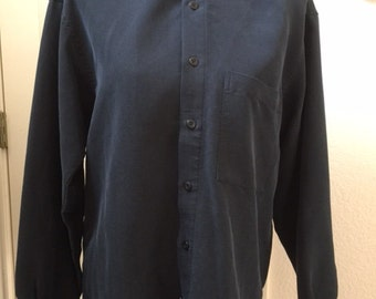 Mens size Small,uncollared shirt, charcoal.