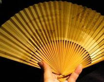 Japanese Vintage Paper Hand Held Fan, Reversible Paper Fan, Japanese Art