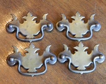 4 Chippendale Drawer Pulls, Bat Wing Pulls, Vintage Brass Pulls, Drop Bail Handles, Vintage Dresser Hardware, Dresser Pulls