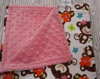 Monkey Blankie, Baby Blankie, Baby Lovie Blanket, Security Blanket, Monkey Baby Lovey, Lovey Blanket, Baby Shower Gift,  Monkey Nursery Gift