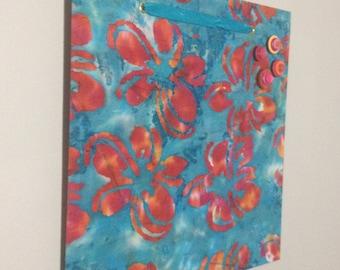 fabric covered magnet board 16x16 batik print