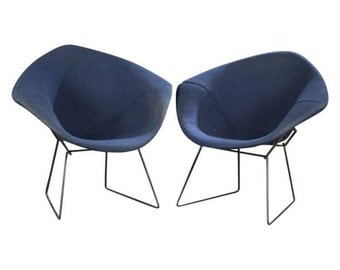 Pair Knoll Bertoia Blue Diamond Chairs Vintage | MCM Pair Knoll Chairs | Vintage Bertoia Pair of Chairs | MCM Blue Set Chairs | Knoll |