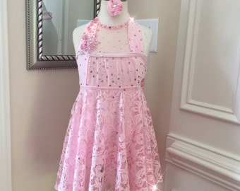 """One Piece Custom Lyrical Dance Costume with Lace for Ballet """"Pretty in Pink"""""""