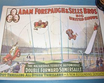 1960 ADAM FOREPAUGH & SELLS Bros. Big United Shows Auto Stunt 16x20 Mini Poster