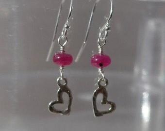 Ruby Heart Earrings, Whimsical Ruby Heart Earrings, dainty Ruby Earrings, Dainty Heart Earrings