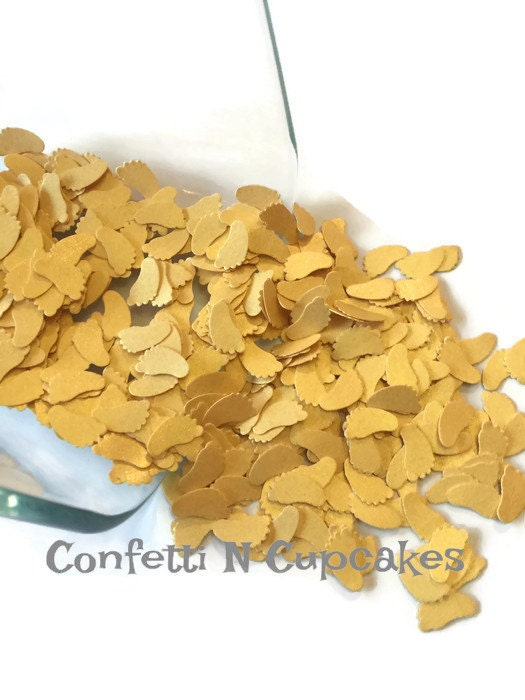 Baby confetti baby shower pearl gold confetti scrapbook for Baby confetti decoration