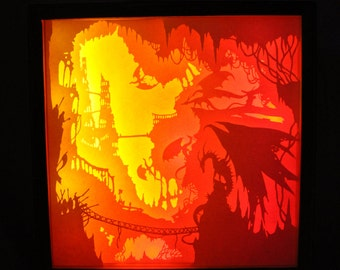 FireAndSword-002-Dreambox handcutted paper shadow box
