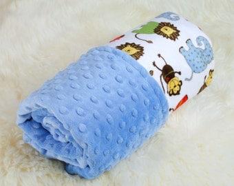 Baby Boy Blanket, Blue Baby Blanket,  Minky Blanket, Personalized Baby Gift, Crib Blanket, Stroller Blanket, Baby Shower Gift.