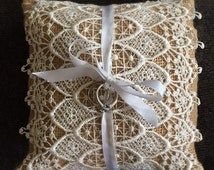 7x7 Natural Burlap Ring Bearer Pillow W/ Vintage Lace and white satin ribbon ring tie. Rustic/Country/Shabby Chic/Beach/Barn yard wedding