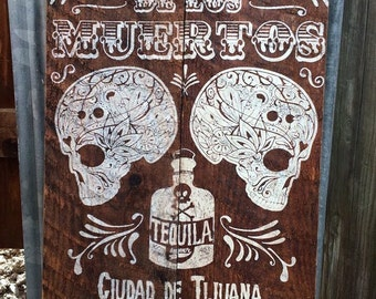Handmade Wooden Vintage Mexican Tequila sign