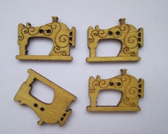 Sewing machines 4 wood buttons of sewing machines 26 x 20 mm