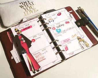 2018 Printed Fashion Illustration Inserts, Fashionista Week on 2 Pages Planner, Pocket, Personal and A5 size, Agenda Filler, 3 months