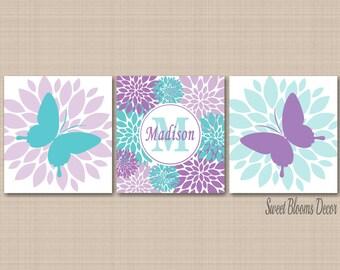 Butterflies Nursery Wall Art,Lavender Purple Teal Aqua Nursery Wall Art,Butterfly Girl Room Wall Art,Butterflies Nursery Decor-UNFRAMED