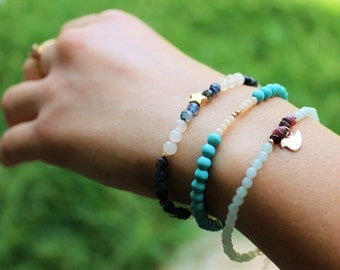 3 Bracelets set, tourquoise, agate, amazonite beads, gold filled beads, bird and star pendants