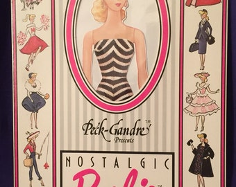 Blonde Barbie Nostalgic paper doll, 1989, Peck-Gandre