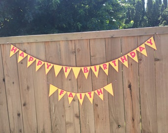 """Handmade """"Happy Birthday"""" Banner With Age & Name Option"""