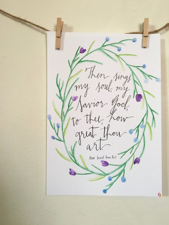 Hand lettered modern calligraphy watercolor by