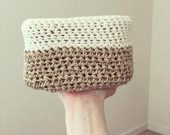 Hemp and Yarn Crochet Basket