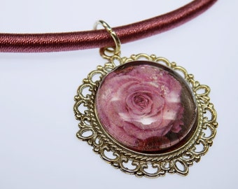 Necklace rose flower in pink glass cabochon necklace on the dusky pink silk ribbon - Unikat - jewelry rose flowers mother day