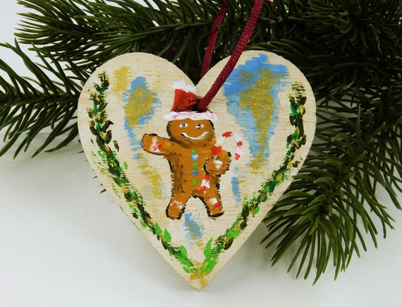 Gingerbread Man with candy cane heart tree decoration Christmas hand painted Dekoanhänger wood unique on the red silk ribbon