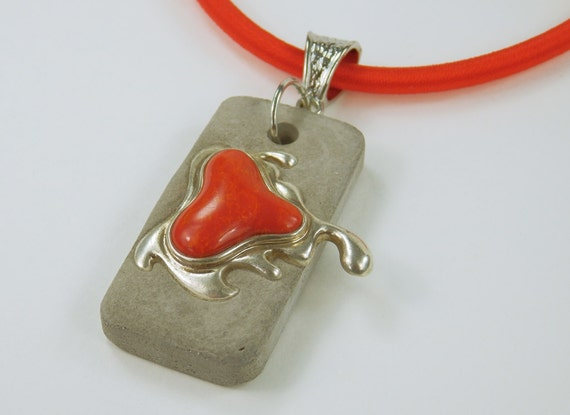 Red stone concrete Jewelry necklace red silk ribbon concrete jewelry Jewelry Vintage Silver