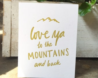 Love ya to the mountains and back card