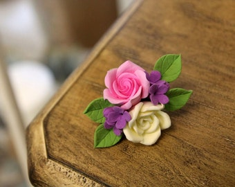 Handmade flower jewelry, flower brooch and hair clip, 2-in-1, gift for her, wedding accessories, birthday gift, bridesmaid gift, pink roses