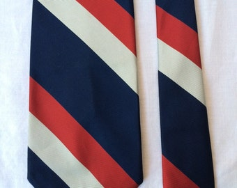 Christian Dior silk tie. Vintage tie. Blue with red and white stripes.