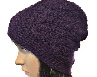 Purple Beanie, Purple Slouchy Hat, Purple Slouchy Beanie, Crochet Slouchy Beanie, Purple Crochet Hat, Purple Winter Hat, THE JASMINE