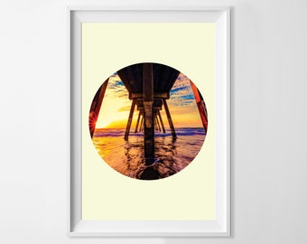 Ocean Art, Beach Art, San Diego, Sunset, Circle Print, Ocean Beach Pier, Fine Art Photography, Ocean Fine Art Photography, Ocean Pier