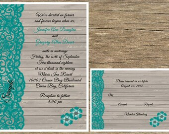 100 Personalized Rustic Wood Teal / Turquoise Lace Wedding Invitations Set Rsvp Cards
