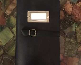 Leather Journal Handmade In Black With Pocket