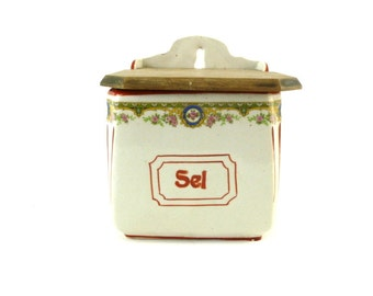 French Vintage Salt Box / Vintage Ceramic Salt Box / French Kitchen Decor / Shabby Chic