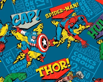 Fat Quarter  MARVEL COMIC CHARACTER Blue Superhero Fabric   Hulk Captain  America Thor,Spierman