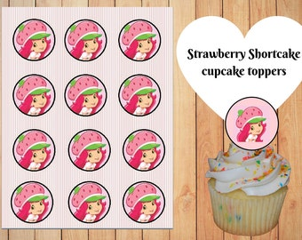 Strawberry Shortcake Cupcake Toppers printable