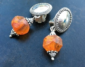 Clip on Earrings, Vintage Bali silver and crudely faceted genuine amber