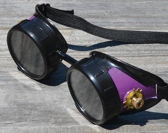 Steampunk, Steampunk Goggles, Steampunk Eyewear, Purple Goggles, Gothic Goggles, Gothic Sunglasses, Mad Max, Wasteland Glasses