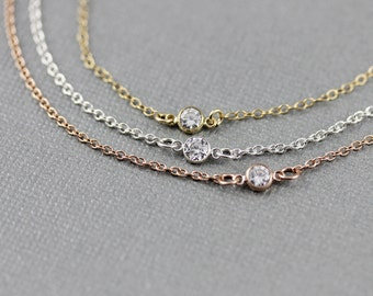 Dainty Small CZ Bracelet on Sterling Silver, 14k gold filled, rose gold filled Chain, Tiny CZ Solitaire Bracelet