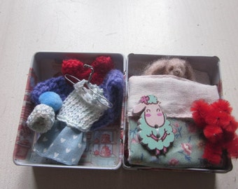 "Needle Felted Bunny ""Little Coco"" in a Tin ""Bed"""