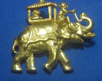 VINTAGE Antique Brooch Riding Elephant Gold Tone