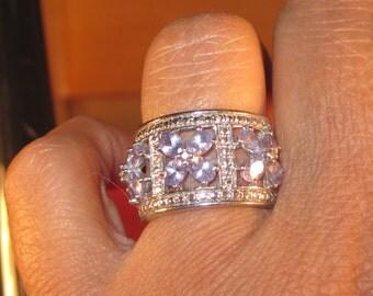 Vintage Sterling Silver Ring 925 Size 6 light purple Gemstones