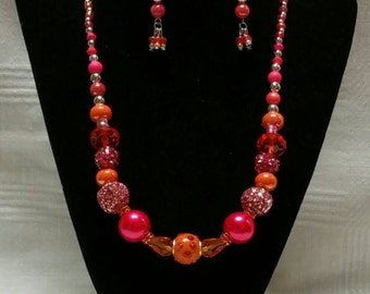 Pink and Orange Beaded Necklace set