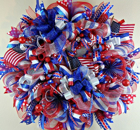 Fourth Of July Wreath July 4th Wreath Front Door Wreaths