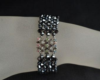 Bracelet swarovski crystal hematite 2x clasp Swarovski
